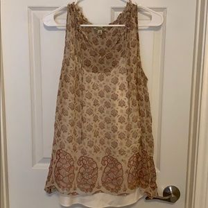 Lucky brand tank top paisley neutral